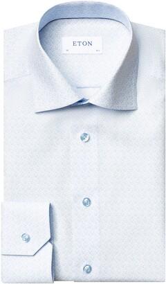 Eton Slim Fit Blue Floral Print Dress Shirt