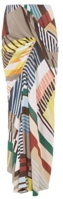 Rick Owens Geometric-print Ruched Crepe Maxi Skirt - Grey Multi