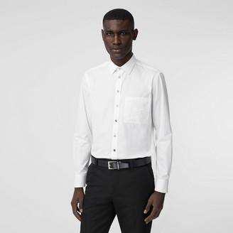 Burberry Slim Fit Logo Detail Cotton Poplin Shirt