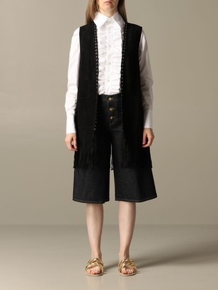 Golden Goose Suede Waistcoat With Fringes And Laser Engraving