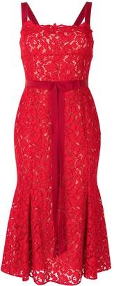 Oscar de la Renta Floral-Lace Tie-Waist Midi Dress