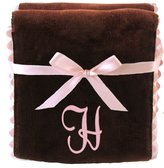 Princess Linens Bon Bon Burp Pad Brown with Pink Trim, H