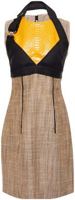 Acne Studios Snake-effect Leather And Canvas-paneled Silk And Linen-blend Mini Dress