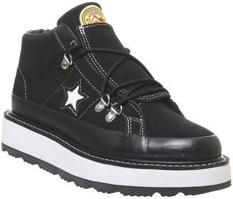 Converse One Star Fleece Lined Boots Black White Black