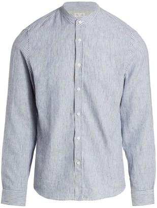Brunello Cucinelli Mandarin Collar Linen-Blend Shirt
