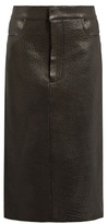 Raey Tumbled-leather midi pencil skirt