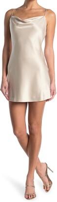 Alice + Olivia Harmony Cowl Neck Satin Minidress