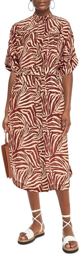 Thumbnail for your product : Zimmermann Belted Silk Crepe De Chine Midi Shirt Dress