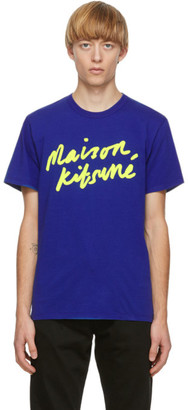 MAISON KITSUNÉ Blue Handwriting T-Shirt