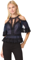 Marchesa Pleated Tulle Cold Shoulder Top