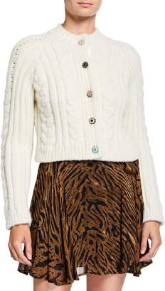 Ganni Cropped Cable-Knit Alpaca Cardigan