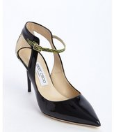 Jimmy Choo black patent leather 'Malta' embossed accent pumps