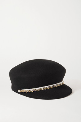 Eugenia Kim Sabrina Embellished Wool-felt Cap - Black