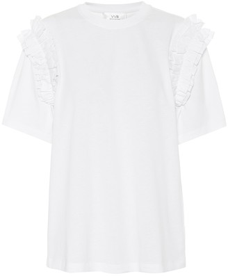 Victoria Victoria Beckham Ruffled organic-cotton T-shirt