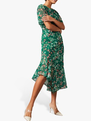 Phase Eight Coralee Floral Print Asymmetric Hem Dress, Pine/Multi