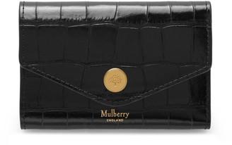 Mulberry Folded Multi-Card Wallet Black Croc Print