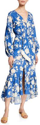 Johanna Ortiz Lost in Flowers Floral Eyelet Long-Sleeve Dress