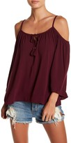 Socialite Cold Shoulder Woven Shirt