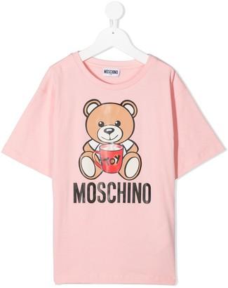 MOSCHINO BAMBINO teddy bear print crew neck T-Shirt