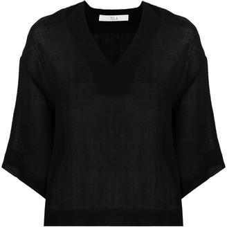 Tela V-neck linen-blend blouse
