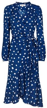 Carla polka-dot crApe wrap dress