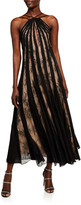Oscar de la Renta Lace-Striped Halter Neck Dress