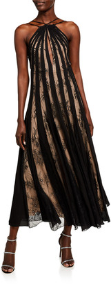 Oscar de la Renta Lace-Striped Halter Neck Dress