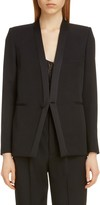 Saint Laurent Collarless Wool Tuxedo Jacket
