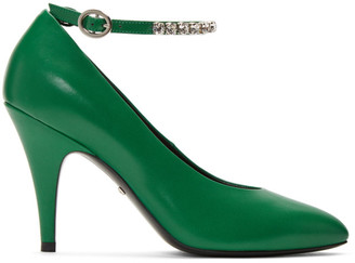 Gucci Green Crystal Ankle Strap Heels