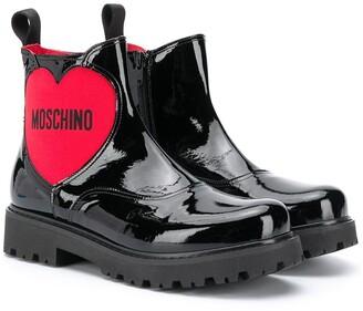 MOSCHINO BAMBINO TEEN heart chelsea boots