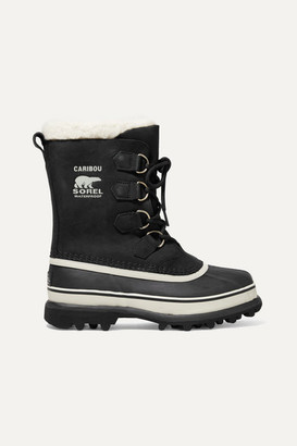 Sorel Caribou Waterproof Nubuck And Rubber Boots - Black