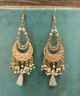 Besheek BeSheek Women's Earrings WHITE - Goldtone & White Tassel Chandelier Drop Earrings