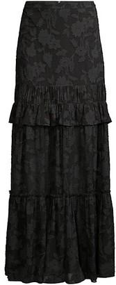 Rachel Zoe Lilith Floral Ruffled Silk-Blend Maxi Skirt