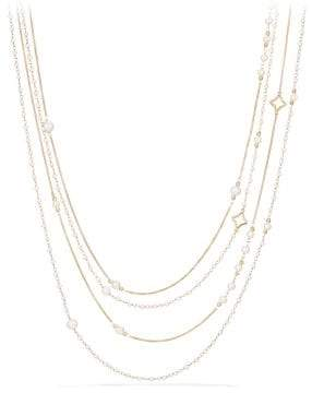 David Yurman Oceanica Two-Row Chain Necklace With Pearls In 18K Gold