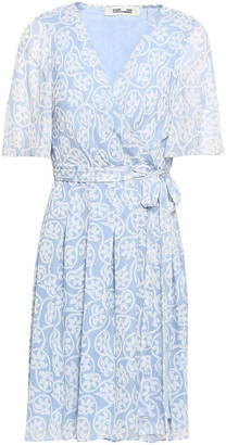 Diane von Furstenberg Pleated Floral-print Silk-chiffon Mini Wrap Dress