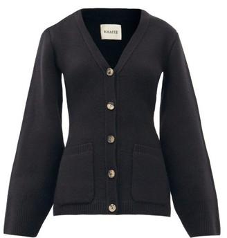 KHAITE Lucy Flared-sleeve V-neck Cashmere Cardigan - Black