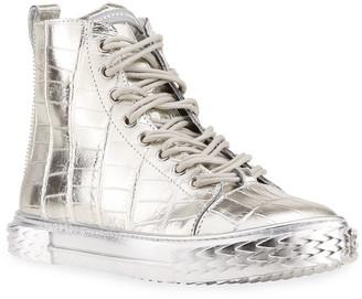 Giuseppe Zanotti Men's Blabber Metallic Croc-Embossed High-Top Sneakers, Silver