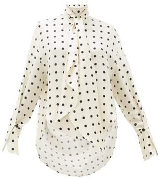 Petar Petrov Beverly Polka Dot Print Silk Twill Blouse - Womens - White Black