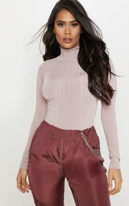 PrettyLittleThing Pastel Pink Slinky Rib High Neck Long Sleeve Top