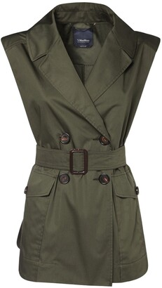 Max Mara 'S Belted Double Breast Cotton Satin Vest