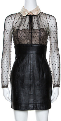 Valentino Black Leather Skirt Embellished Collar Detail Dress S