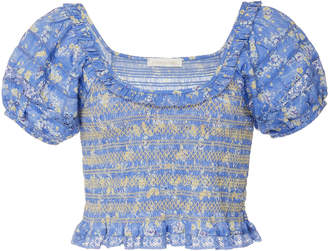 LoveShackFancy Molly Smocked Shirred Cropped Cotton Top Size: S
