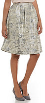 Calvin Klein Metallic Brocade Pleated A-Line Skirt
