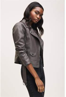 Dynamite Belted Faux Leather Jacket - FINAL SALE Charcoal Gray