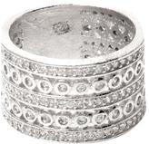 Rivka Friedman Women's Rhodium Band Ring with CZ