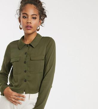 Vero Moda Tall boxy shirt-Green