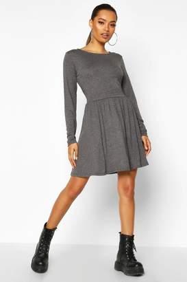 boohoo Jersey Long Sleeve Gathered Skater Dress
