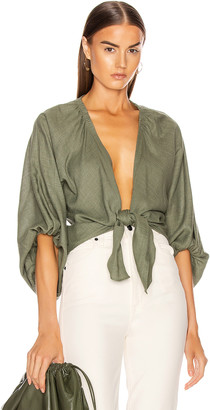 Adriana Degreas Linen Solid Voluminous Sleeve Shirt in Green | FWRD