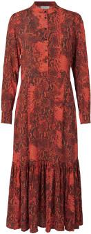 Monroe Notes Du Nord - Orange Viscose Scarlet Snake Dress - 36 | viscose | orange - Orange/Orange