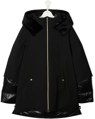 Herno TEEN shell-panelled coat